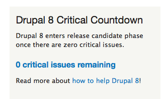 Back to zero again. Forecast for #Drupal 8 RC1 later today lookin' good so far. :) http://t.co/Lz9X8AXw4g