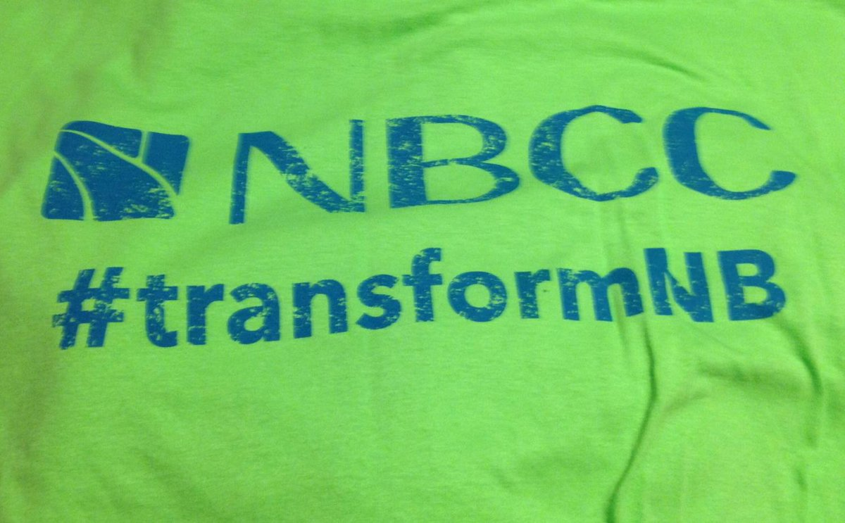 Look for these shirts all over New Brunswick today as NBCC works to #transformNB one student at a time! http://t.co/FhKYAbGlLS