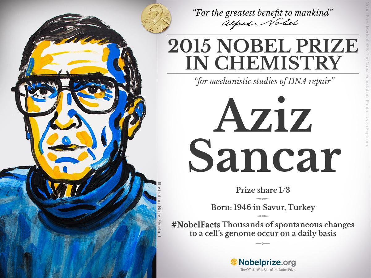American and Turkish Aziz Sancar 1/3 #NobelPrize in Chemistry @UNC http://t.co/pwCnH5QJBX