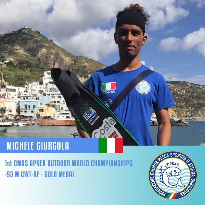 """Mondiali di Apnea Outdoor, Ischia 2015: è il giorno dei record, il salentino Michele Giurgola è medaglia d'oro nella disciplina """"Bipinne"""""""