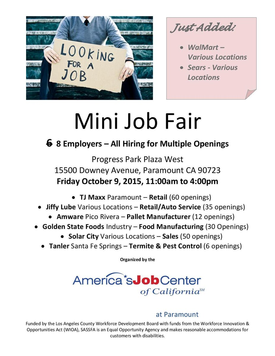 Two employers @Walmart and @Sears added to mini Job Fair this Friday in Paramount! #workforce #jobs #jobfair #careers