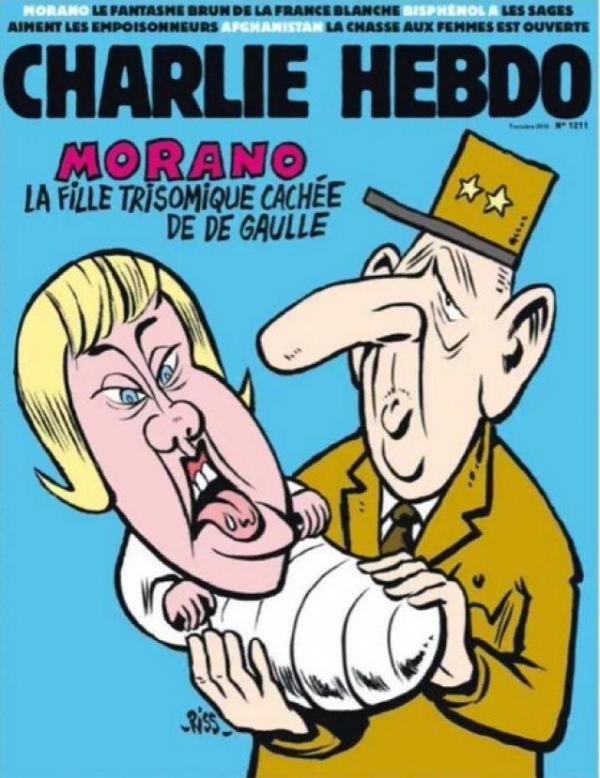 """RT @vivrefm """" @nadine__morano fille #trisomique de De Gaulle"""": 1 maman réagit à la Une de @Charlie_Hebdo_ http://t.co/htvc8z4WRO"""
