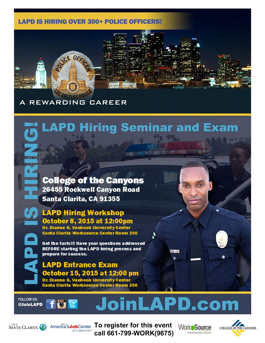 LAPD recruitment event in Santa Clarita today at noon! Get there for a great opportunity #careers #LawEnforcement