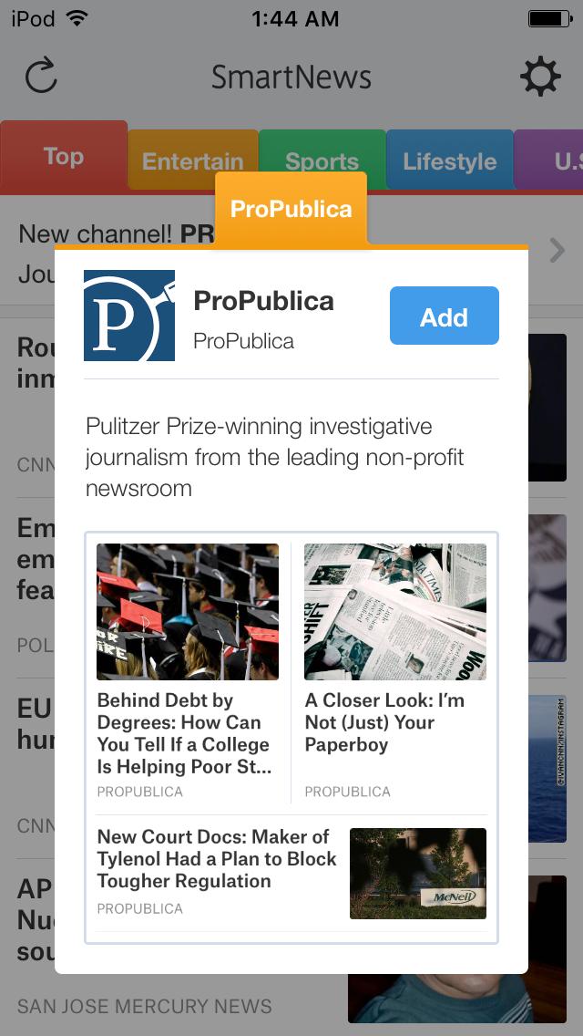 SmartNewsのUS版で非営利の調査報道機関である@ProPublica のチャネルがローンチしました。実は昨年のUS版スタート時からのパートナーなのですが、チャネル自体は1年越しでの追加。 http://t.co/loOv4czNPb