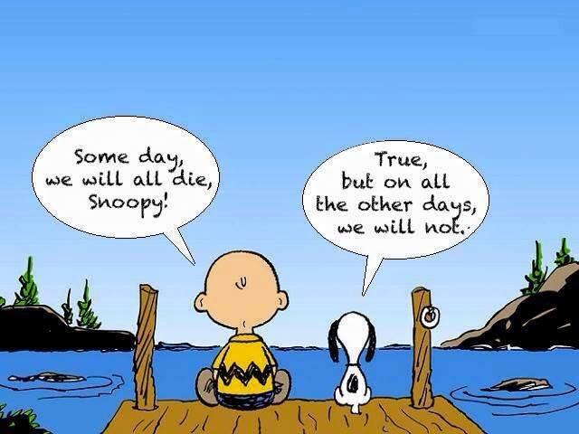 Charlie Brown und Snoopy sitzen am See