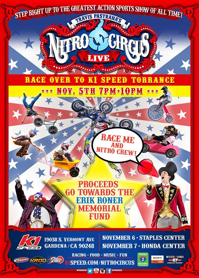 Join us & the @NitroCircus crew Nov. 5th from 7-10pm at @k1speed in Torrance! http://buff.ly/1GUsz56 #RaceforRoner
