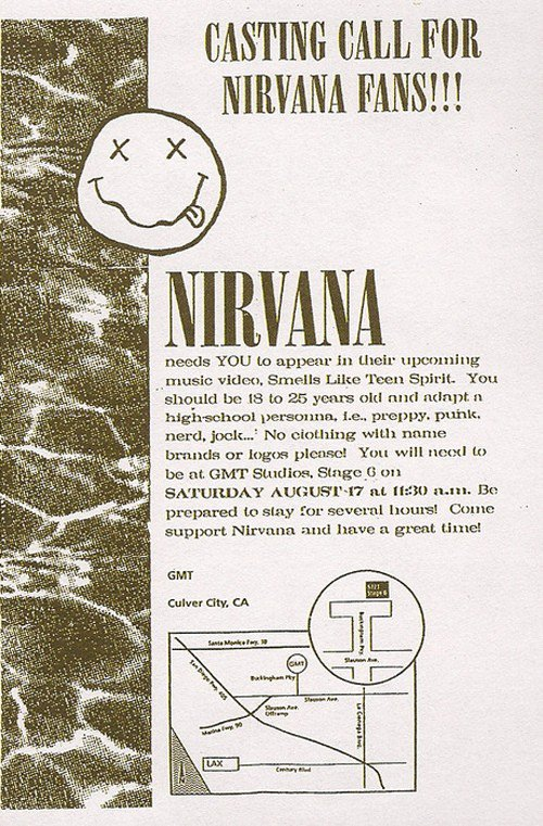 Check Out This Casting Call For Nirvana's 'Smells Like Teen Spirit' Video