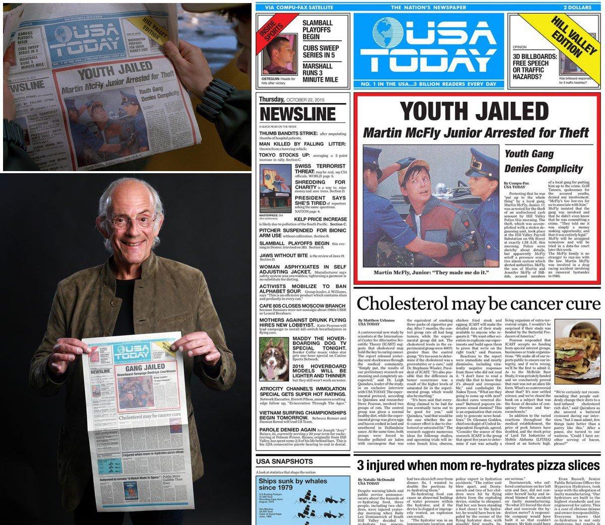 『バック・トゥ・ザ・フューチャー』登場の2015年10月21日付USAトゥデイ紙をUSAトゥデイがリメイクの粋な計らい。2015年にUSAトゥデイがちゃんと新聞として存続していることもめでたい。LAタイムズ紙版やLIFEだったら無理 https://t.co/ebaSvu3gVk