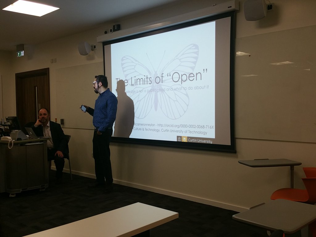 """Thumbnail for @CameronNeylon, 'The limits of """"open"""": Why knowledge is not a public good and what to do about it'"""