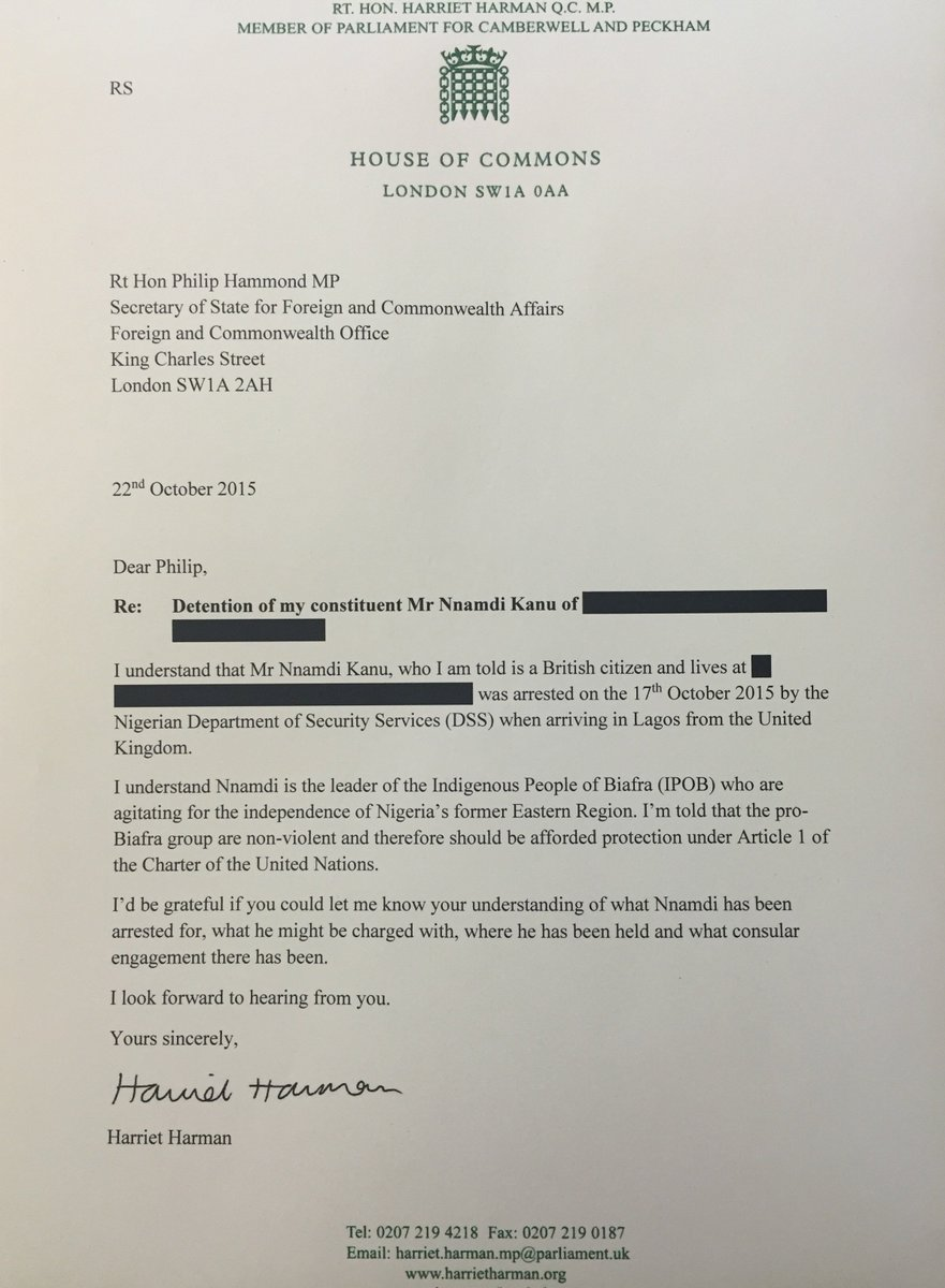 My letter to foreign sec @foreignoffice re @nnamdikanu1 arrest https://t.co/U5wPeZ65gI