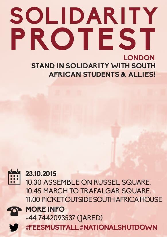 To all South Africans in London. Solidarity protest tomorrow 10:30AM   #FeesMustFall #NationalShutDown https://t.co/yxkQhnx5WH