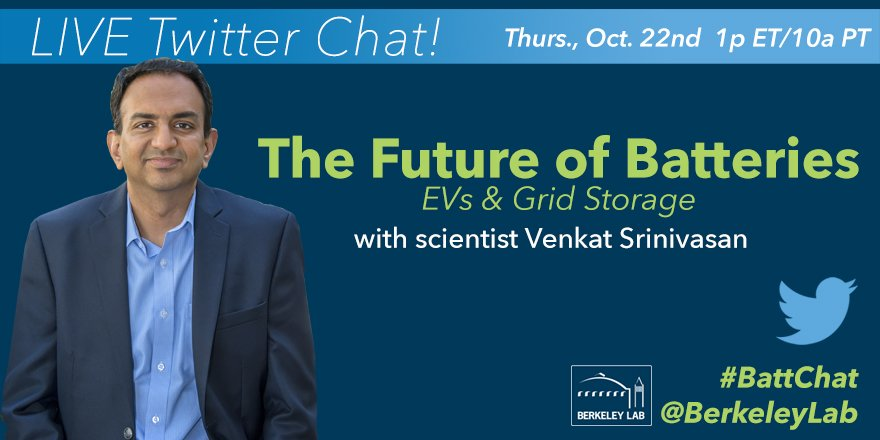 We're just :30min away from today's #BattChat with #BerkLab scientist Venkat Srinivasan. Join us at 10a PT! 🔋 https://t.co/D8fq5ckrl0