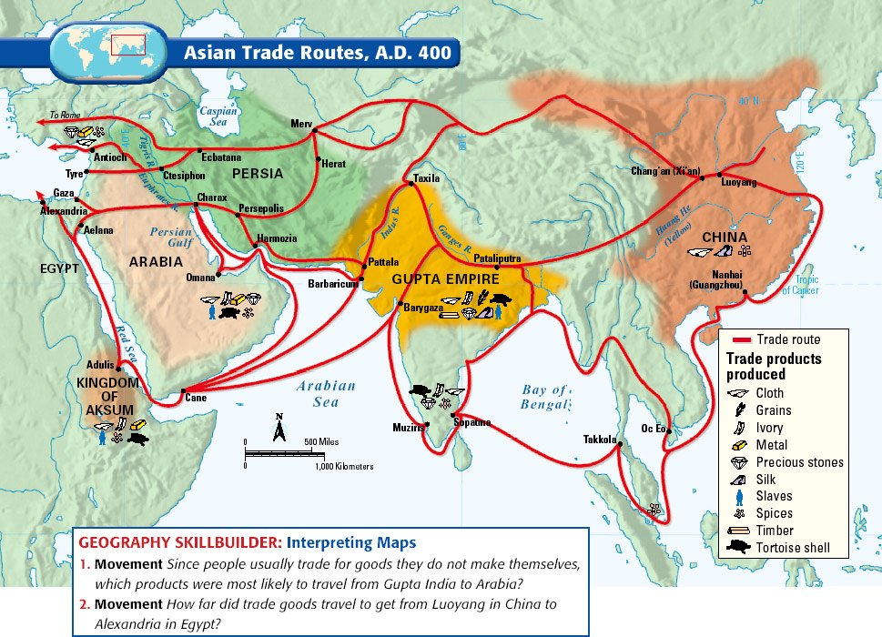 Map Of Asia In 500 Ad.Beautiful Maps On Twitter Asian Trade Routes In 400 C E Https T