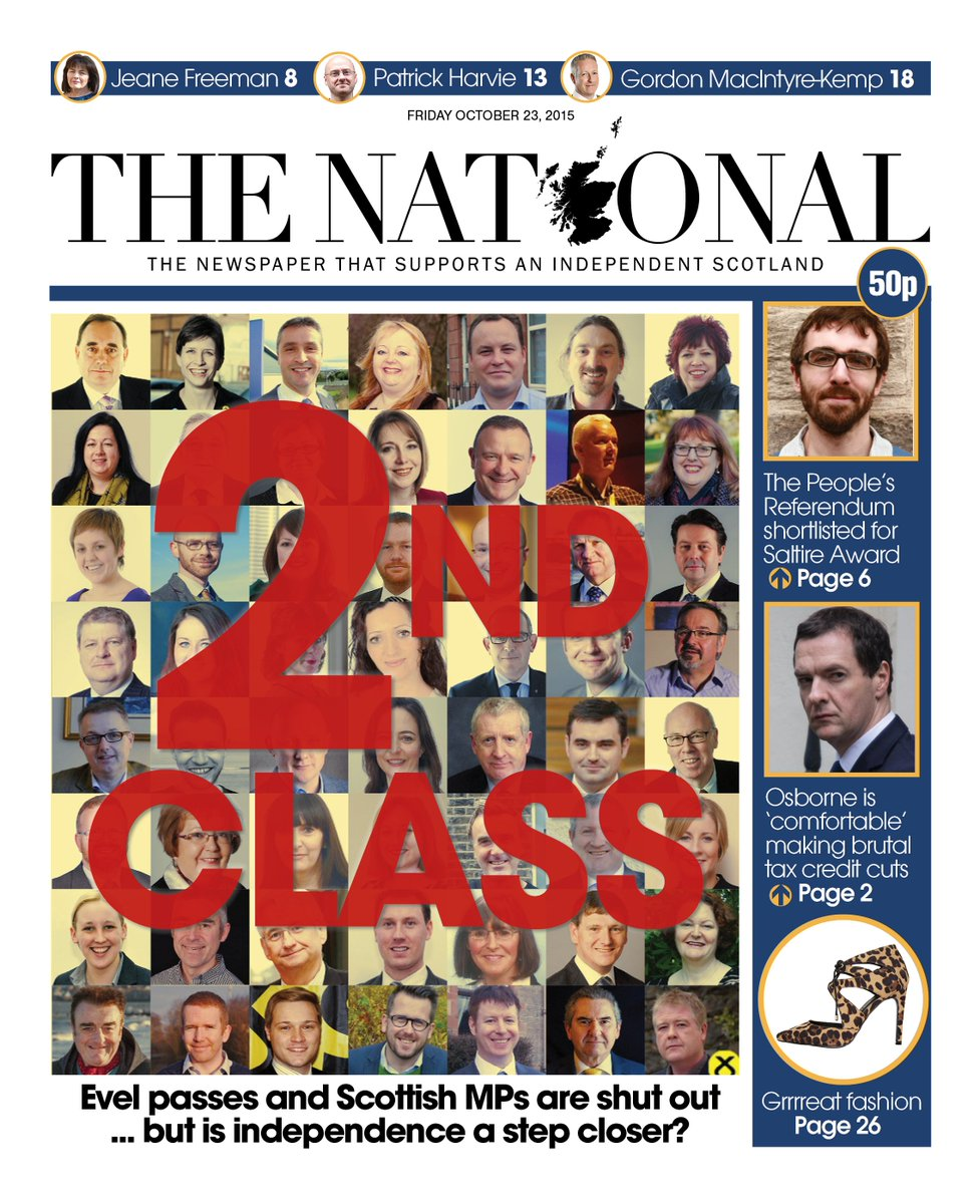 "Image result for ""the national"" + scotland + EVEL"