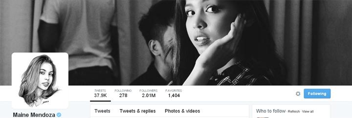 Maine Mendoza is world's 4th fastest-growing Twitter account - Read: http://t.co/SK59cYJQIb #WayToGoMENG