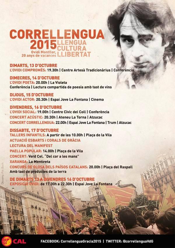 Cartell de Correllengua a Gràcia 2015. Ovidi Montllor 20 anys de vacances. Llengua. Cultura. Llibertat.