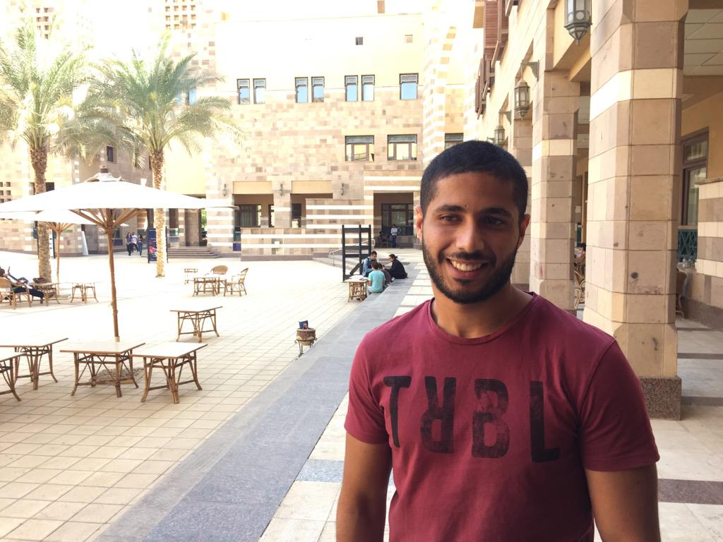 "Spring 2015 graduate Amr el Sayed stated ""AUC is my second home."" That's the spirit! #JRLweb #JRMC2202 http://t.co/h4bBBcfnFP"