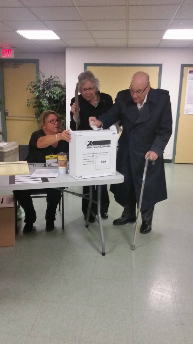 If my 102 year old grandfather can get out and vote, so can all of us! #elxn42 #cdnpoli http://t.co/D3rYMfHUH3