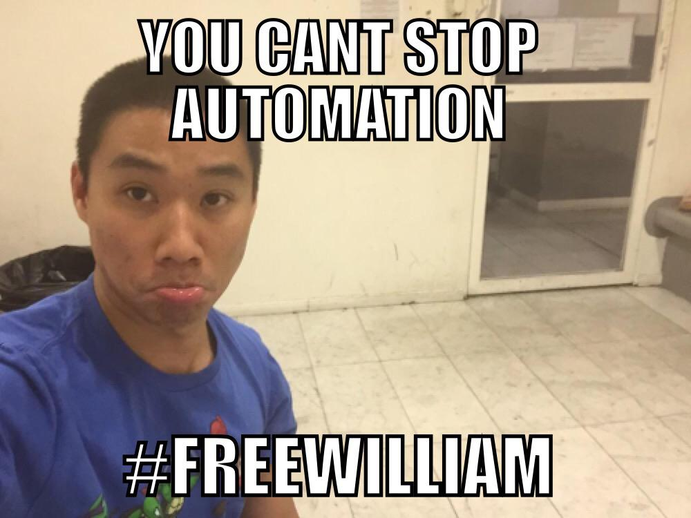 You can't stop automation, let @lamw go! #FreeWilliam #VMworld http://t.co/U0Pk00RxhF