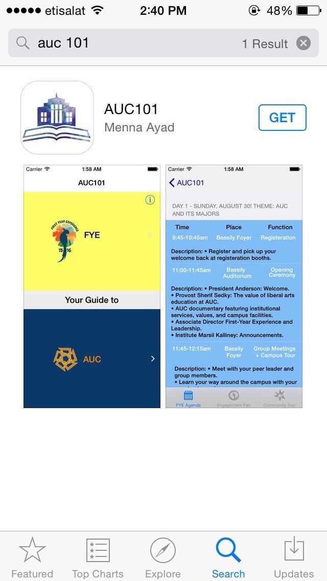 AUC101 is an FYE app that helps freshmen navigate around campus. #littleknownfact #JRMC2202 #JRLWEB #TSH #AUC http://t.co/dYQCjHqiN6