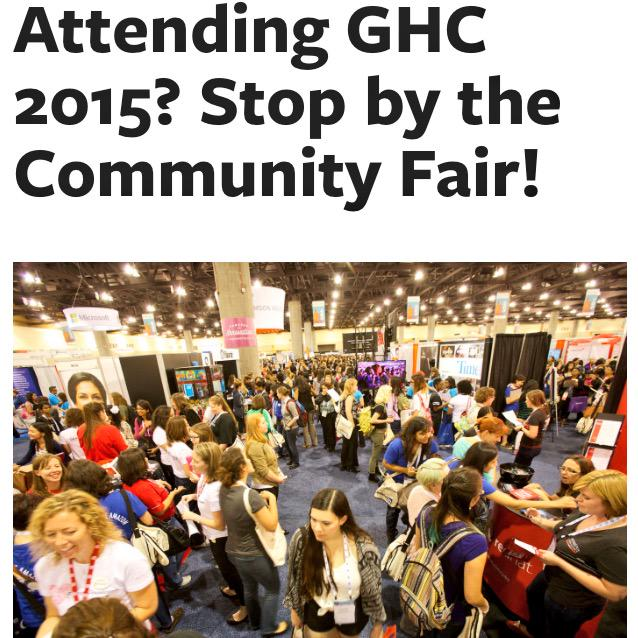 #GHC15 community fair info @VietWiC will b there Wednesday 9:30-10pm. Hope to see you here‼️http://t.co/Bui8BBqLgn http://t.co/OeEWWLUFcH