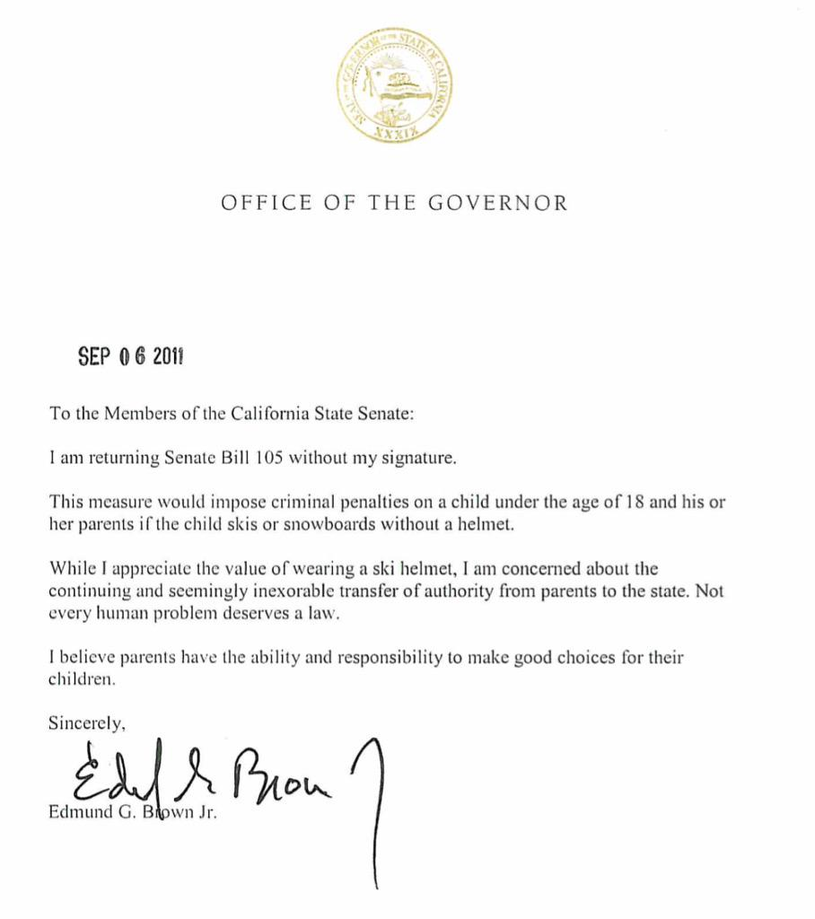 Someone should make a book of @JerryBrownGov's vetoes. His rationality has reigned in overreaching liberals. http://t.co/5rlBIk4v2t