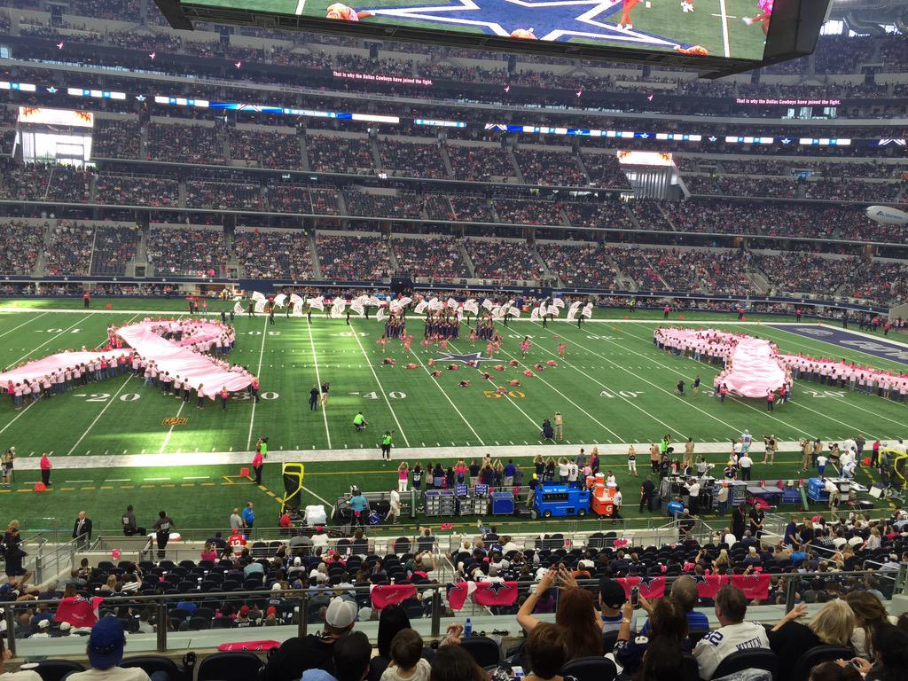 200+ survivors, co-survivors formed 2 pink ribbons today at @dallascowboys game #Cowboys4Komen #CowboysNation