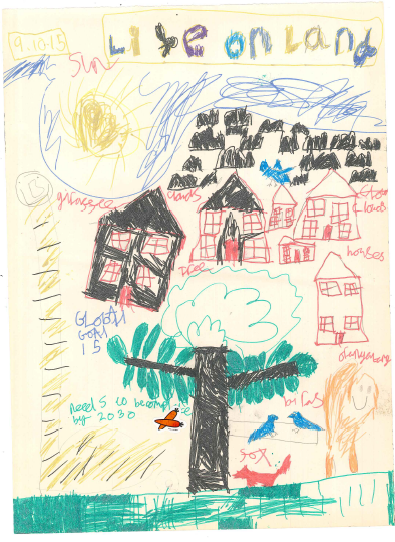 Amazing picture drawn by a Year 4 pupil. Highlighting the Global Goals number 15 'Life on Land' So proud!