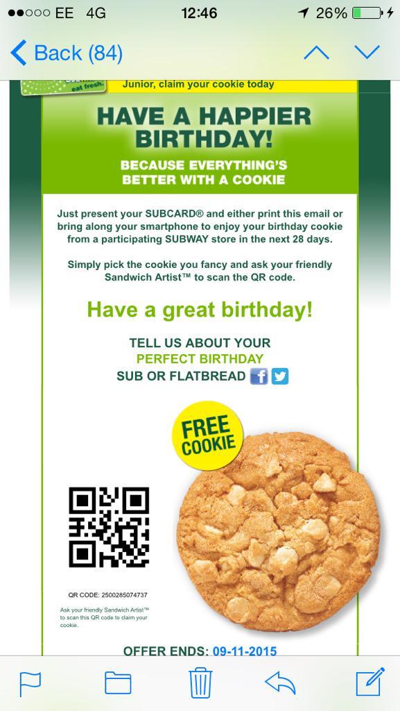 Subway free cookie code