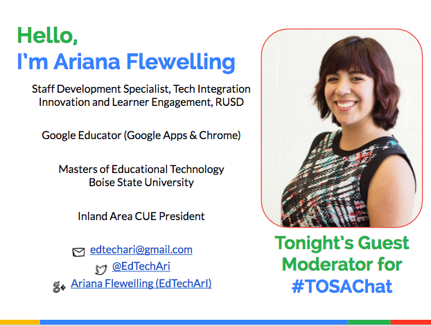 Hi everyone! I'm Ari your guest moderator tonight and my favorite blended beverage is a chai frappuccino! #TOSAChat http://t.co/2jGVuA5n5s