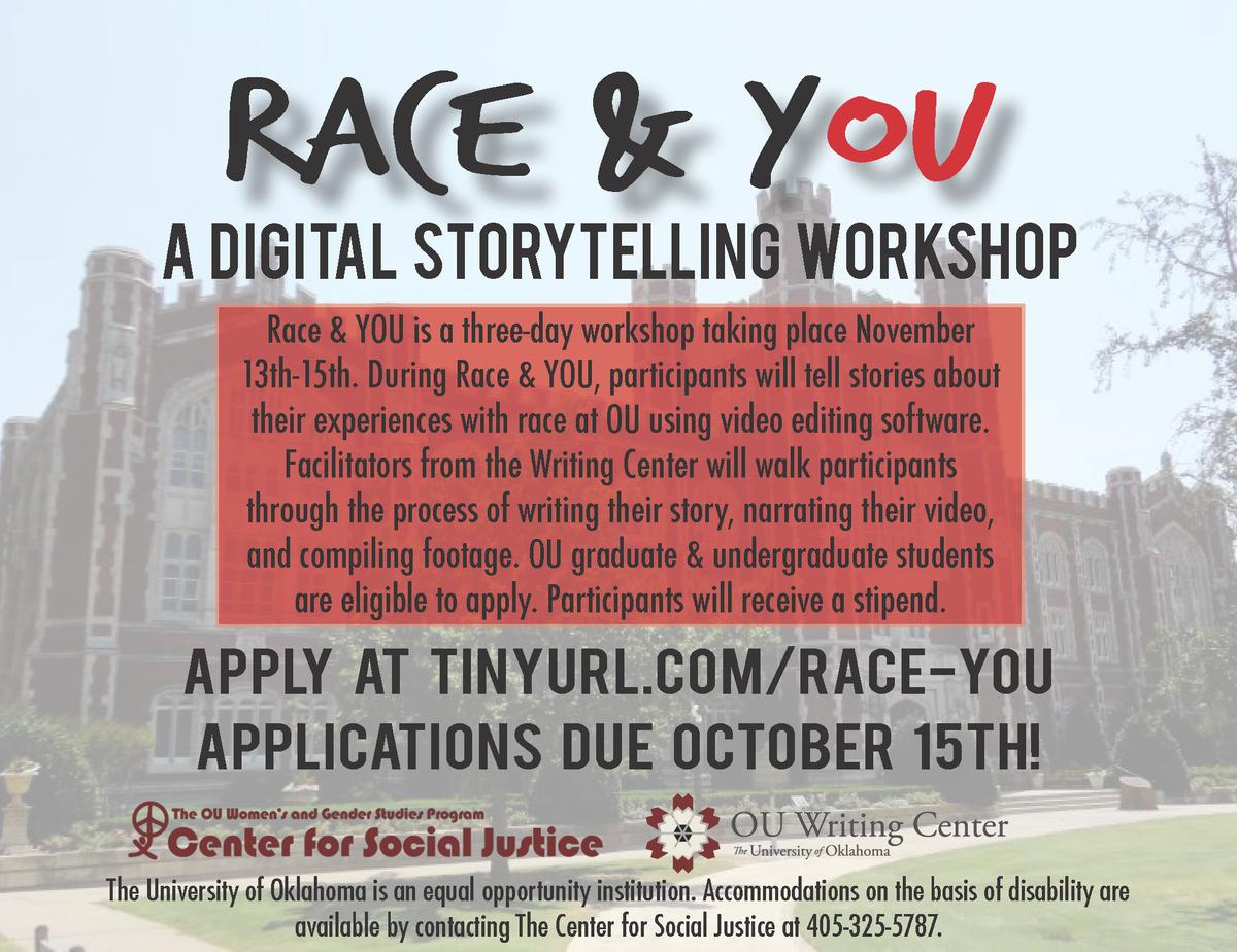 Tell your story. Learn digital composing skills. Stipend incl. http://t.co/jRIXAevuUr @OU_Unheard @OU_SFSJ @ouQuIC http://t.co/A88BOomHdb