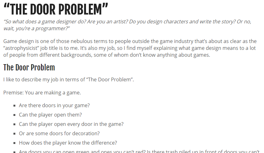 PlayJam On Twitter The Door Problem What Does A Game Designer Do - What does a game designer do