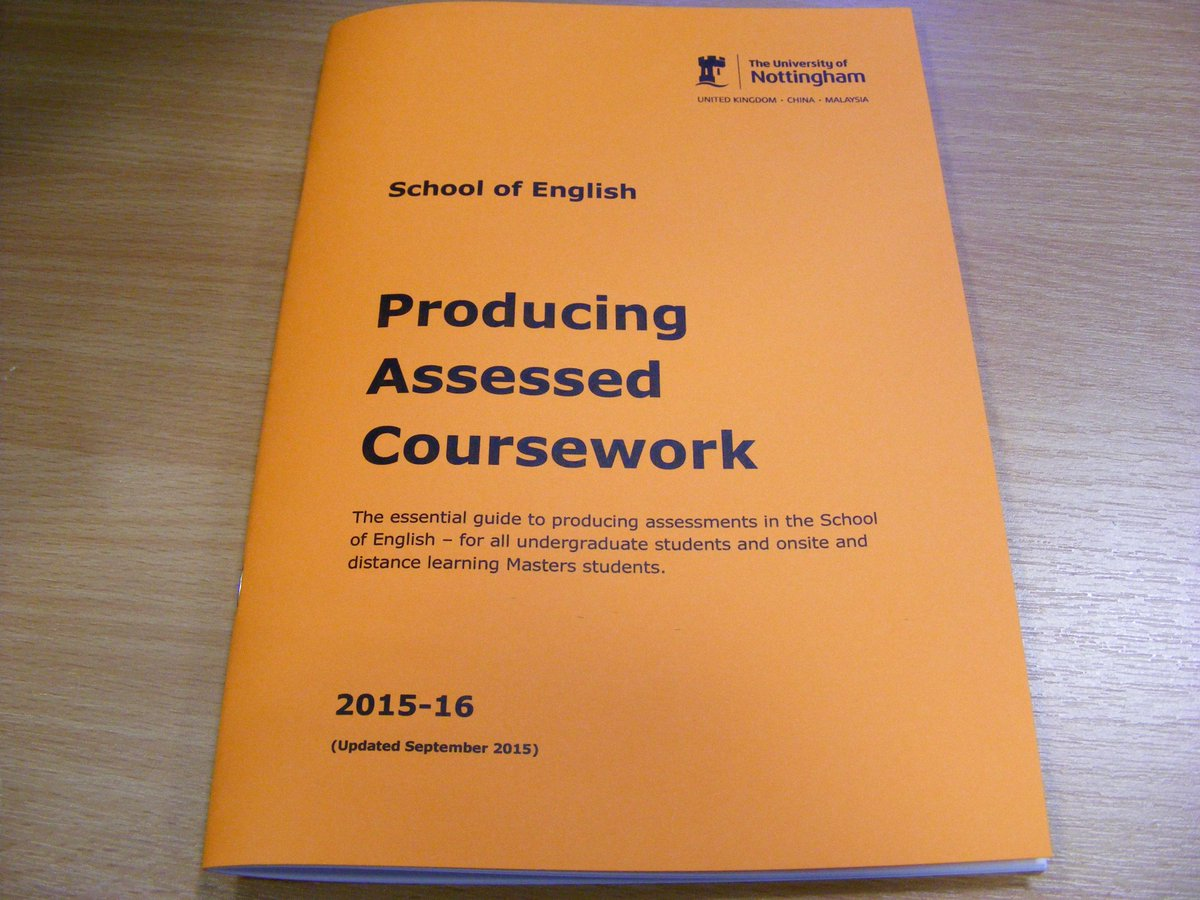 uon school of english producing assessed coursework