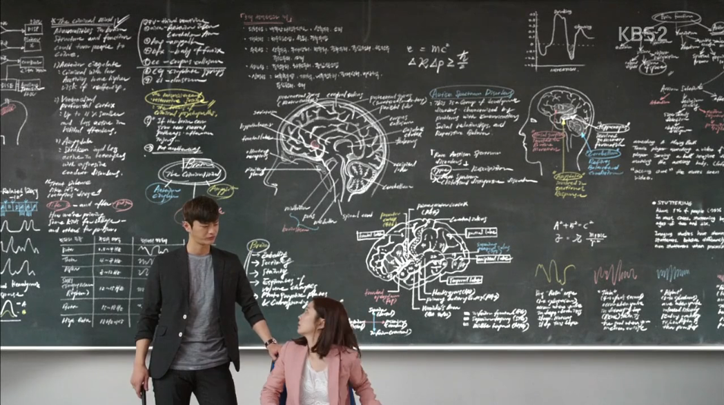 Blackboard with neurobiology diagrams in 2015 Korean drama Hello Monster / I Remember You, starring Seo In-guk as Lee Hyun and Jang Na-ra as Cha Ji-an.