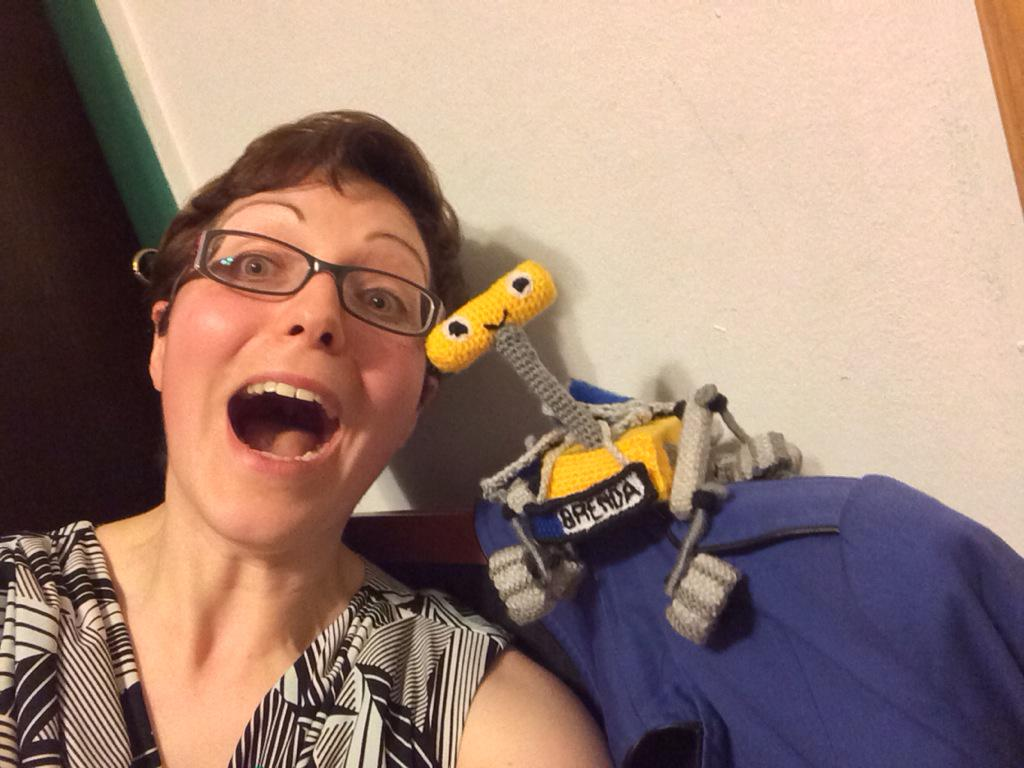 Here's my selfie with knitted Mars Rover, Brenda! #ALD15 Thank you @a_hutty you made my Ada Lovelace Day!!! http://t.co/IC7mNZ7To8
