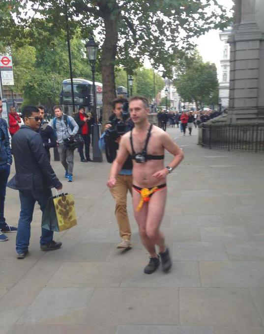 Lib Dem @StephenTall loses #GE2015 bet, walks 'naked' down Whitehall for charity. GIVE here http://t.co/fAARaXXzr5 http://t.co/CPm4AjLYQe