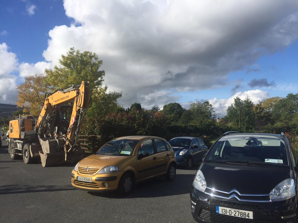 Residents blockade a site selected by council to temporarily house those homeless from Glenamuck Fire @rtenews http://t.co/2R0KerENc4