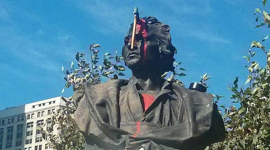Statue of #Columbus splattered with red paint, had an ax taped to its forehead in Detroit http://t.co/rpI9dwucFy