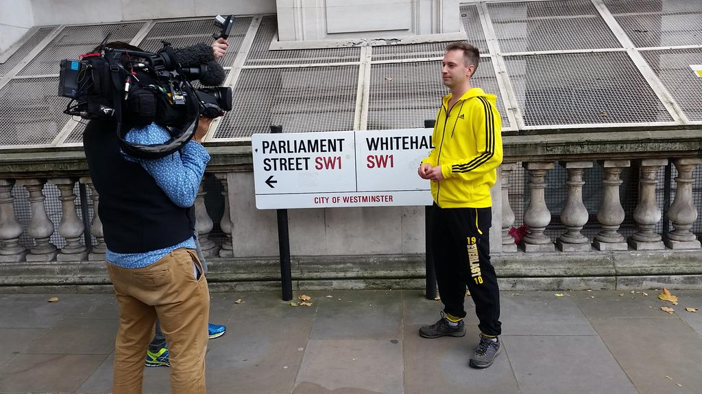 Tbh being almost naked was preferable to wearing the yellow tracksuit the BBC provided. http://t.co/seUgD13p4c