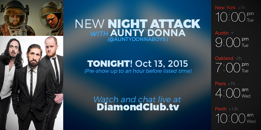 TONIGHT: @AuntyDonnaBoys drop by for a new live Night Attack! 10pET @ http://t.co/jJp5ygFDQx @shwood @JustinRYoung http://t.co/wUTw1ml7uA