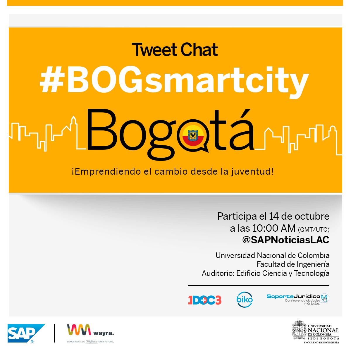 Únete al tweetchat #BOGsmartcity este 14/10: ¿cómo cambiar a Bogotá con emprendimiento, tecnología e innovación? http://t.co/1XObpW3Wap