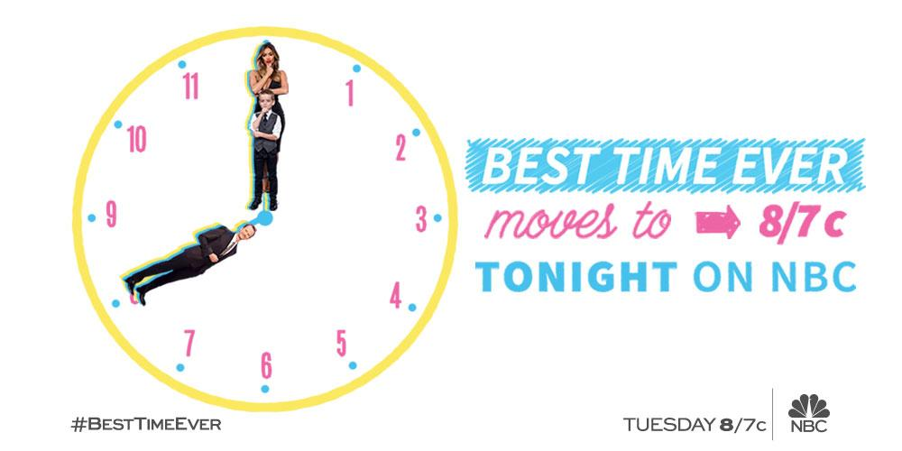 The #BestTimeEver got a time change! 🕗 Tune in tonight at 8pm/7c on @nbc! http://t.co/seJvZQOaoK