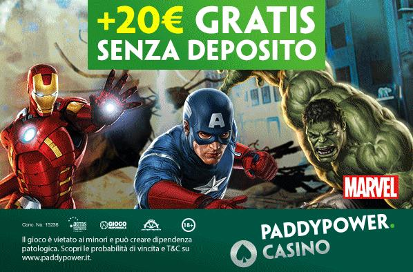 paddy power casino 20€ gratis senza deposito