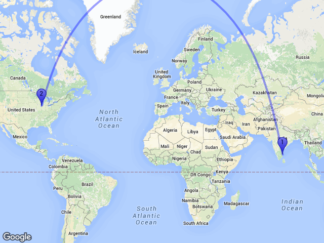 Random Distance On Twitter The Distance Between Eappakkam Tamil - Argentina map from india