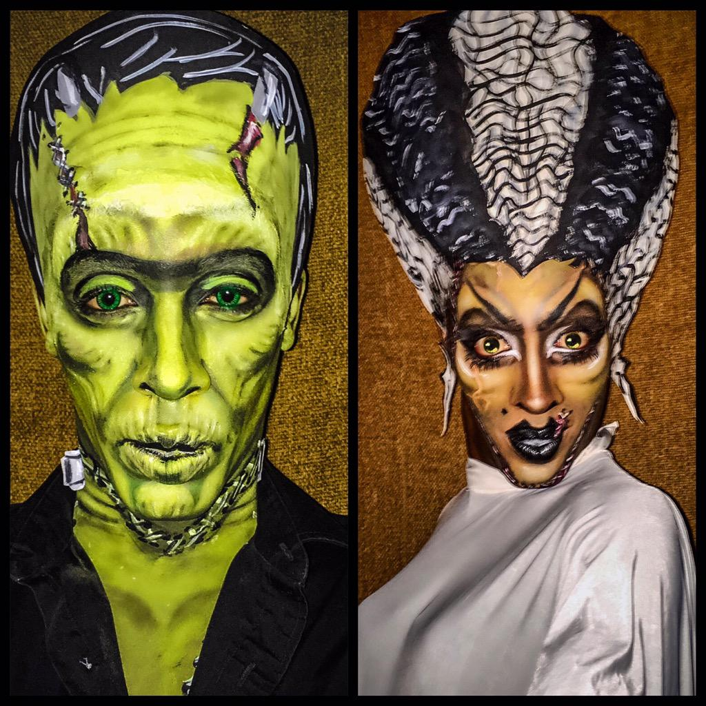 nina bonina brown on twitter frank bride frankenstein halloween makeup makeupartist dragqueen rpdr rupaulsdragrace cosplay rupaul