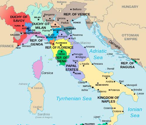Mapa de Italia S. XVI; Mapa de ...