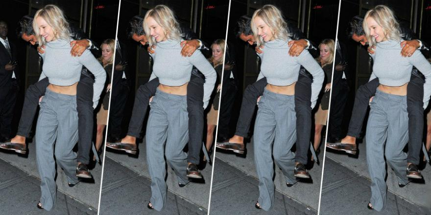 Who says slacks can only be worn in the office? J Law certainly doesn't think so: http://t.co/OeWDWIohR9 http://t.co/YR0Vh2ilWl