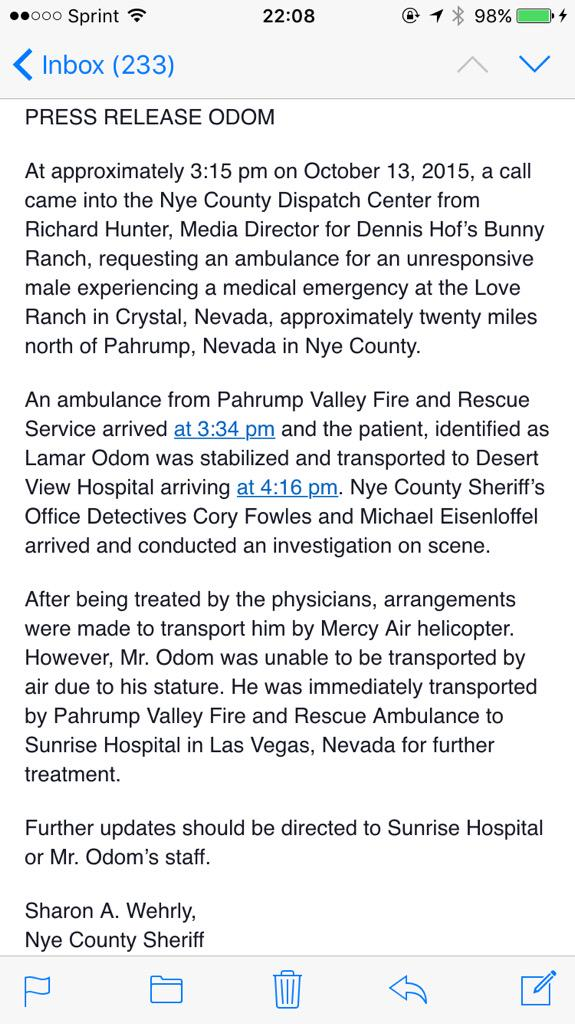 Lamar Odom airlifted to Las Vegas hospital after being found