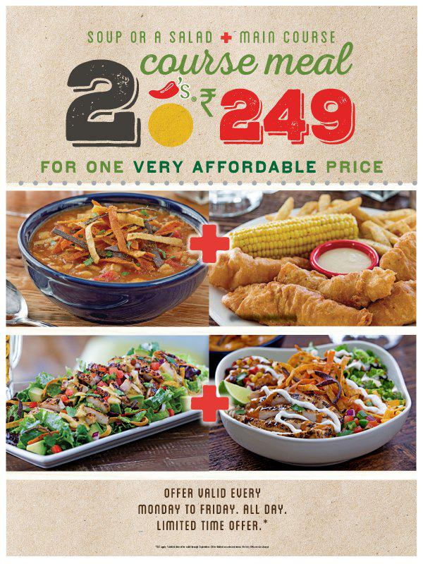 chili s ne india on twitter enjoy a 2 course meal rs249 all
