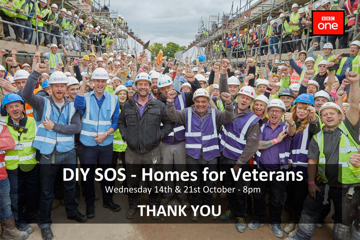 Thank you! And see you next Wednesday @BBCOne 8pm for part 2 of the #DIYSOSVeterans specials with @MrNickKnowles http://t.co/AeIZQqXwwK